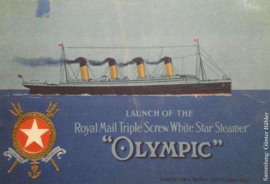 Anlässlich des Stapellaufs der Olympic am 20. Oktober 1910 erhielten die geladenen Gäste als Erinnerung dieses edle Heft. Die White Star Line machte viel Wirbel um die Olympic, die entsprechenden Bauschritte des Schwesternschiffs Titanic verliefen vergleichsweise ruhig.